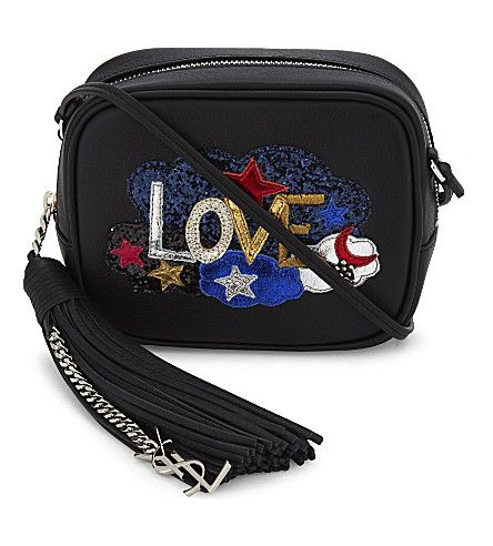 SAINT LAURENT Blogger  Love  Leather Cross-Body Bag.  saintlaurent  bags  shoulder  bags  leather  glitter  charm  accessories   ceab726b71b2d
