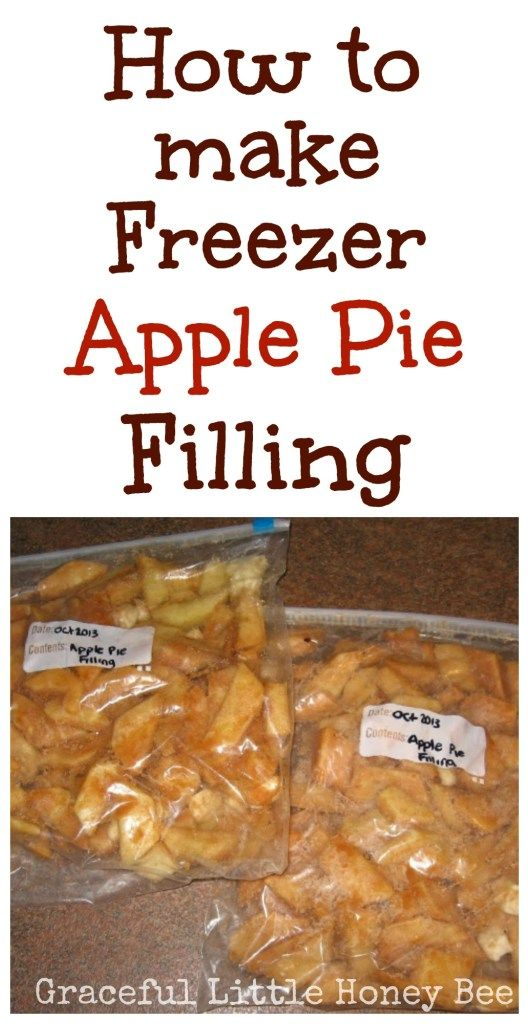 Try this Freezer Apple Pie Filling recipe for a quick way to make homemade apple pies all year long on gracefullittlehoneybee.com #recipes #easyrecipes #fall #fallrecipes #applepie #freezercooking
