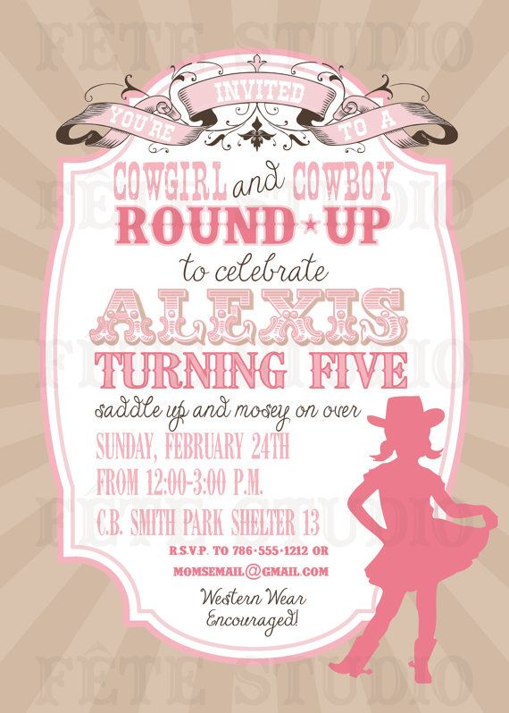 Vintage Modern Cowgirl Invitation By Fetestudio On Etsy 1100 Twin Birthday Parties Cowboy