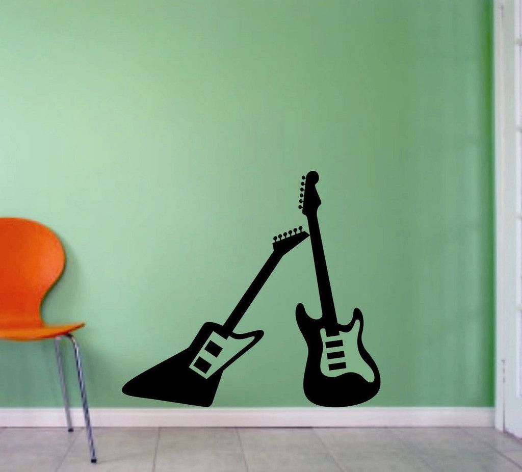 Two Electric Guitar Decals Vinyl Wall Lettering Musical Decor - Custom vinyl guitar stickers
