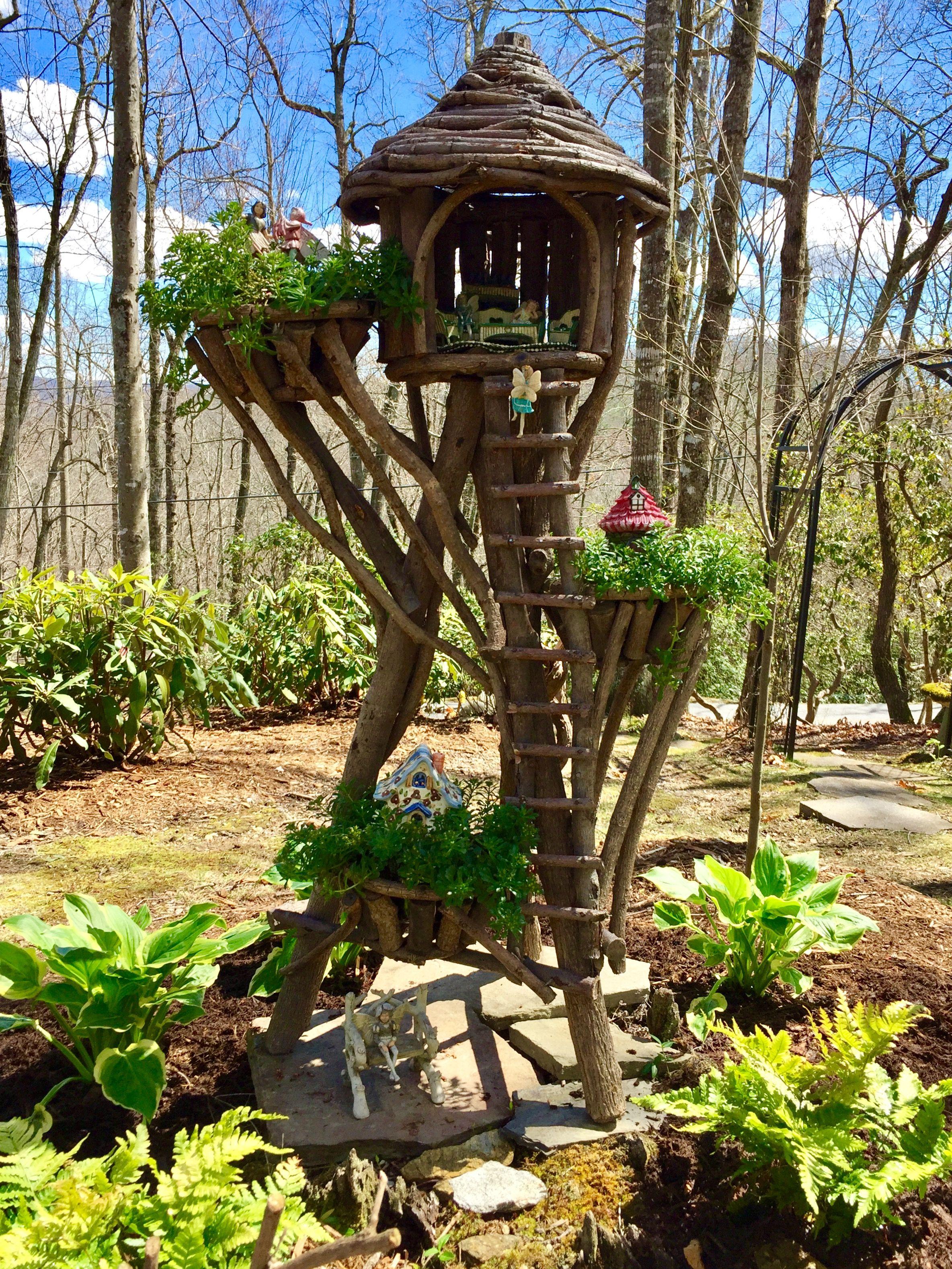 Latest addition to my fairy gardens. Tree House Village.   Fairy ...