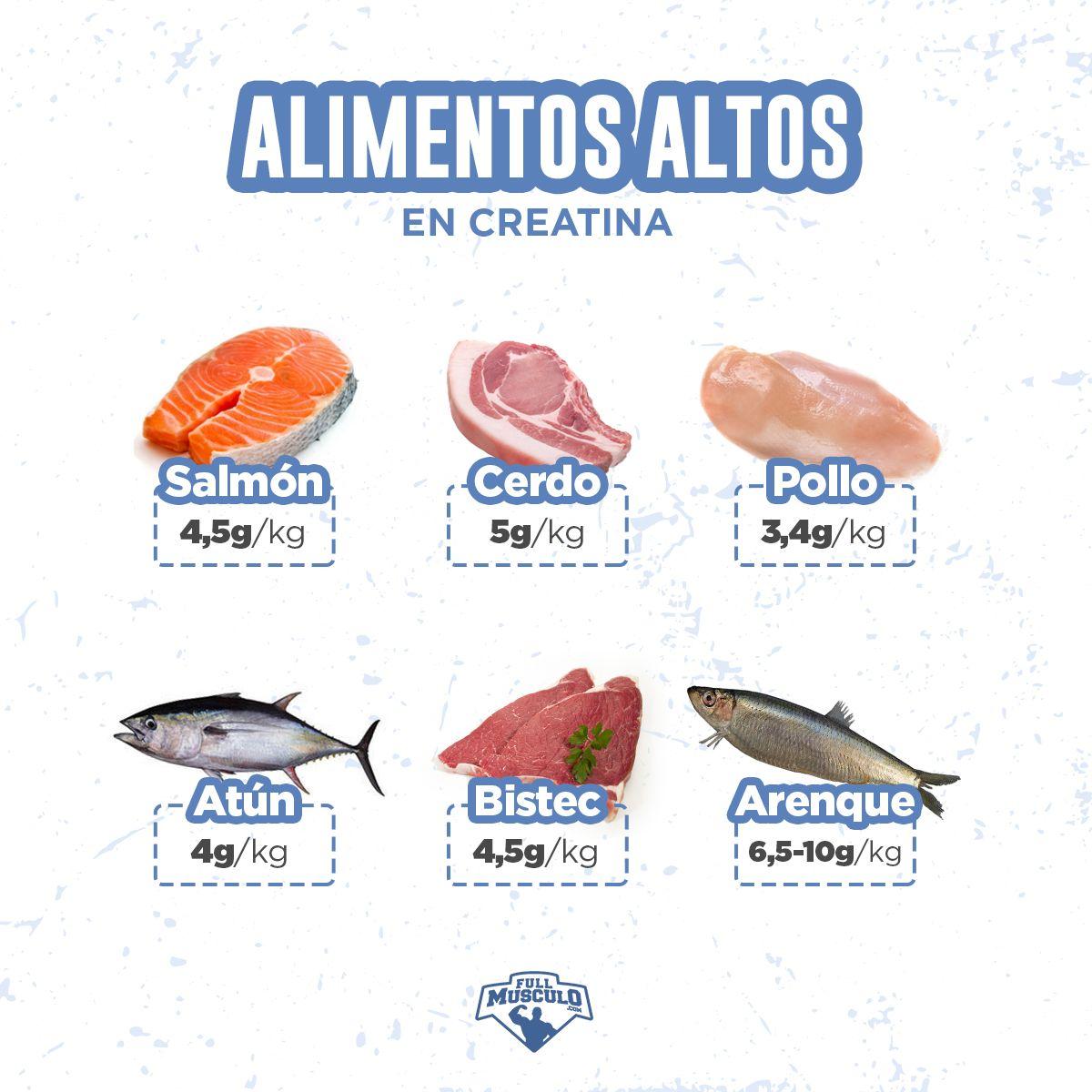 alimentos que contienen mas creatina