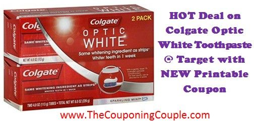 NEW Printable Coupon = CHEAP Colgate Optic White Toothpaste @ Target with Gift Card Deal! Print the coupon NOW while it is still available ► http://www.thecouponingcouple.com/colgate-optic-white-toothpaste-deal-1-18-15/  #ExtremeCouponing #Coupons #Couponing #CouponingCommunity  Visit us at http://www.thecouponingcouple.com for more great posts!