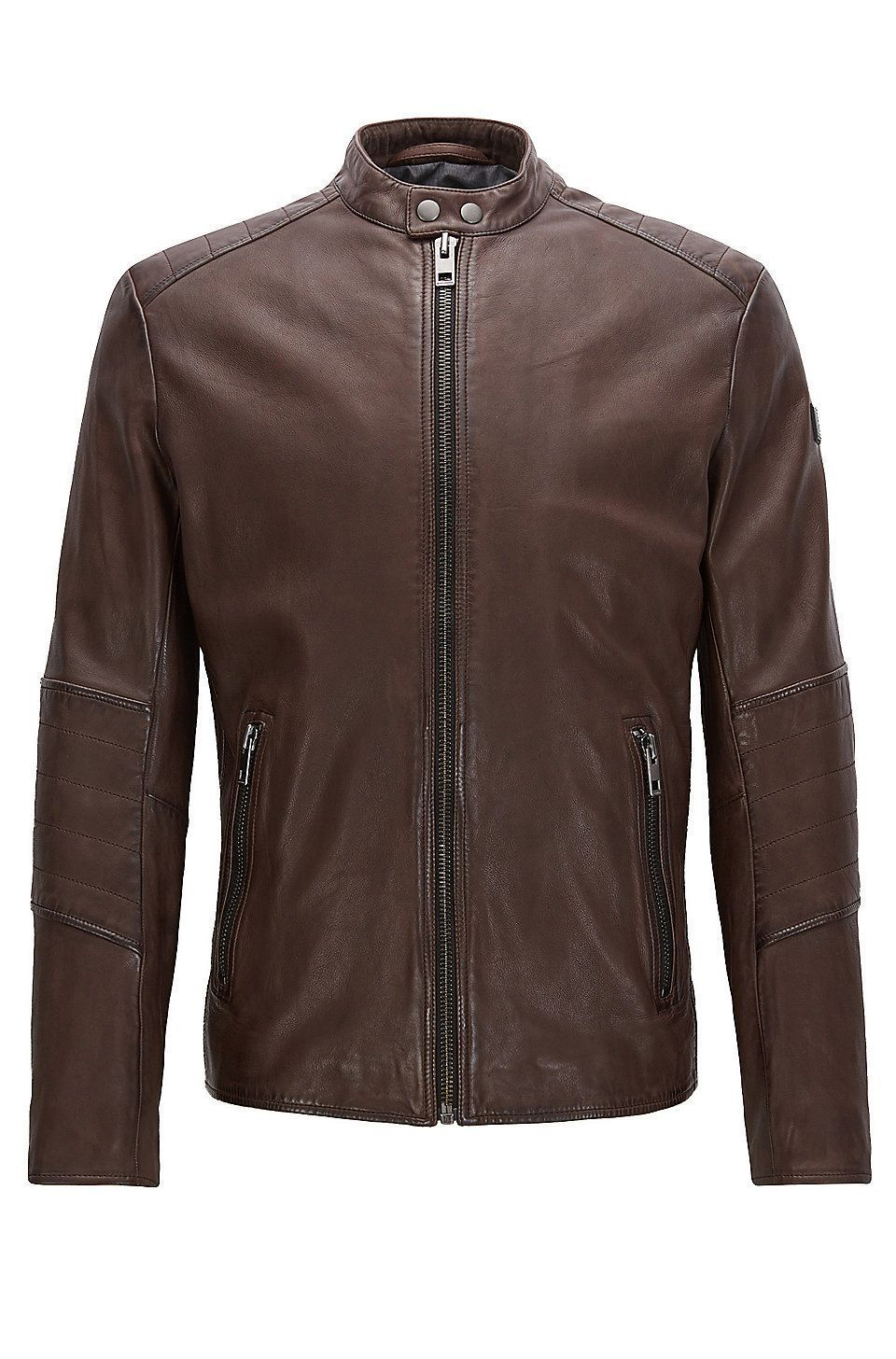 Slimfit jacket in treated leather Dark Brown from BOSS