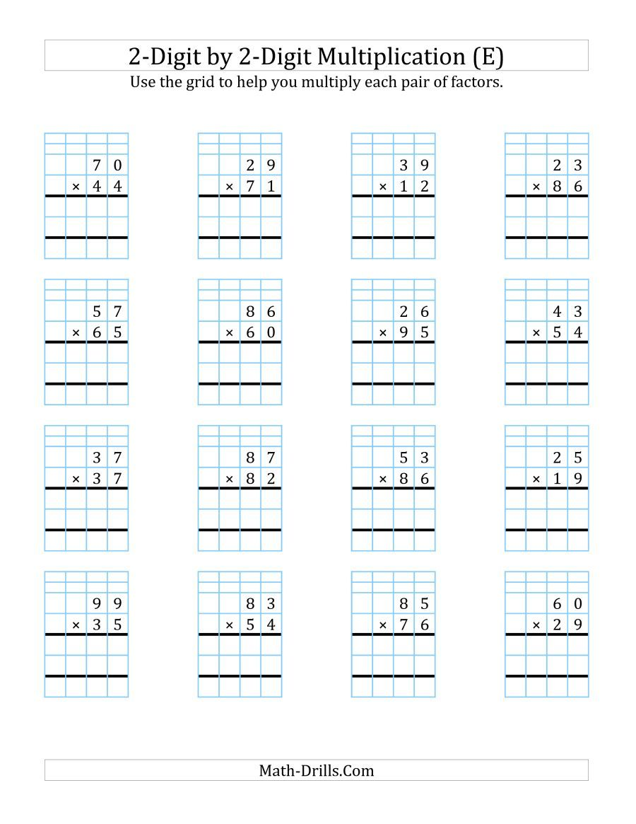 The 2 Digit By 2 Digit Multiplication With Grid Support E Math Worksheet Multiplication Worksheets Multiplication Math Drills [ 1165 x 900 Pixel ]