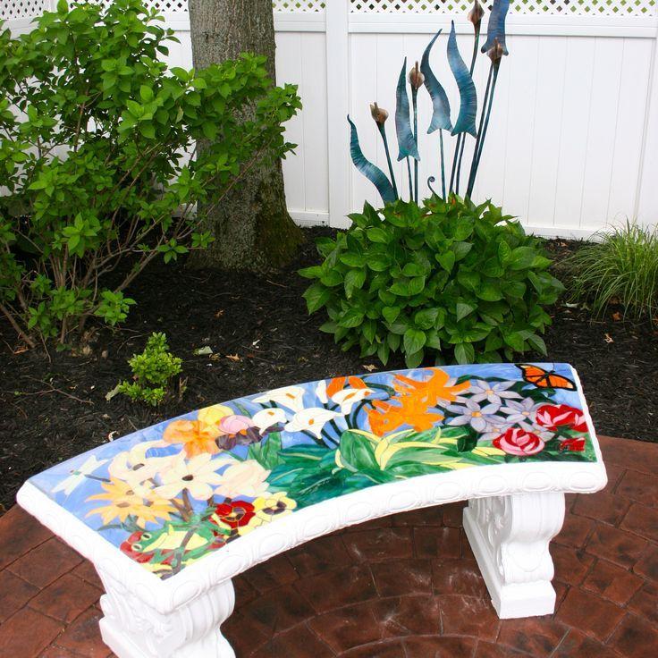Stained Glass Mosaic Cement Garden Bench Of My Design Cheryl Grissett Mosaic Garden Mosaic Crafts Mosaic Glass