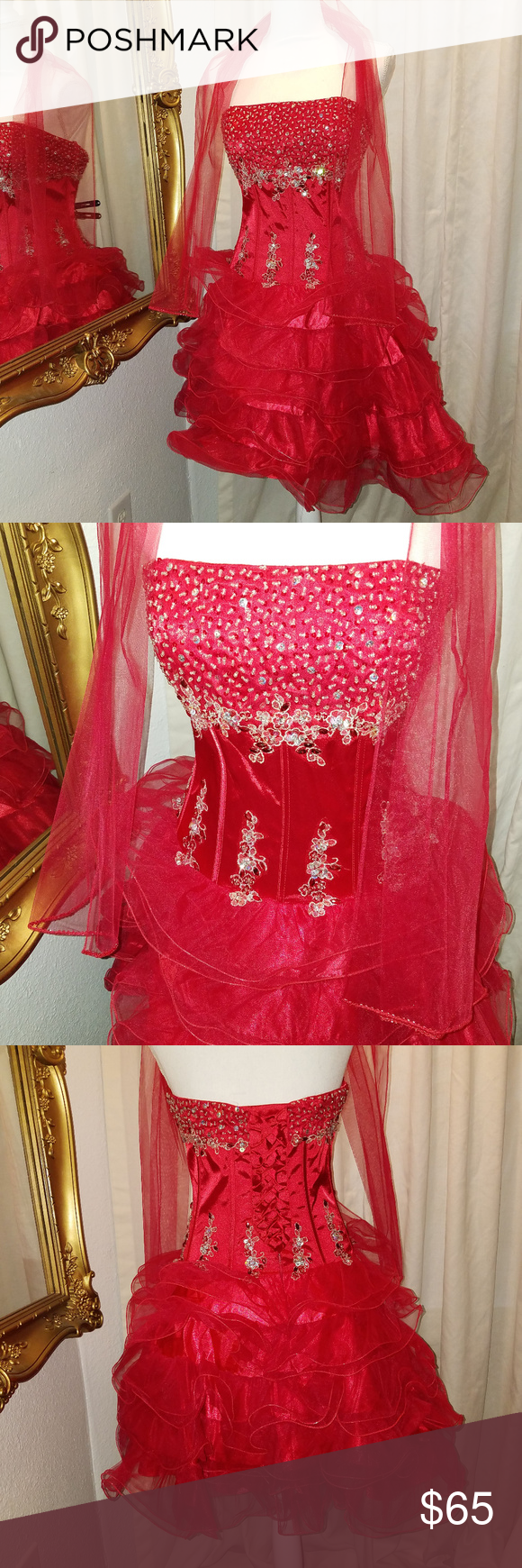 May queen couture red short sequin party dress in my posh