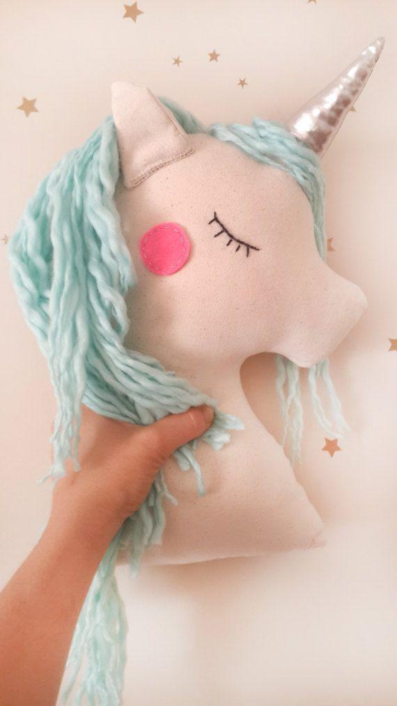 Unicorn gift pillow plush toy, mint unicorn nursery decor, animal pillow for baby toddler kids room, birthday gift for baby girls