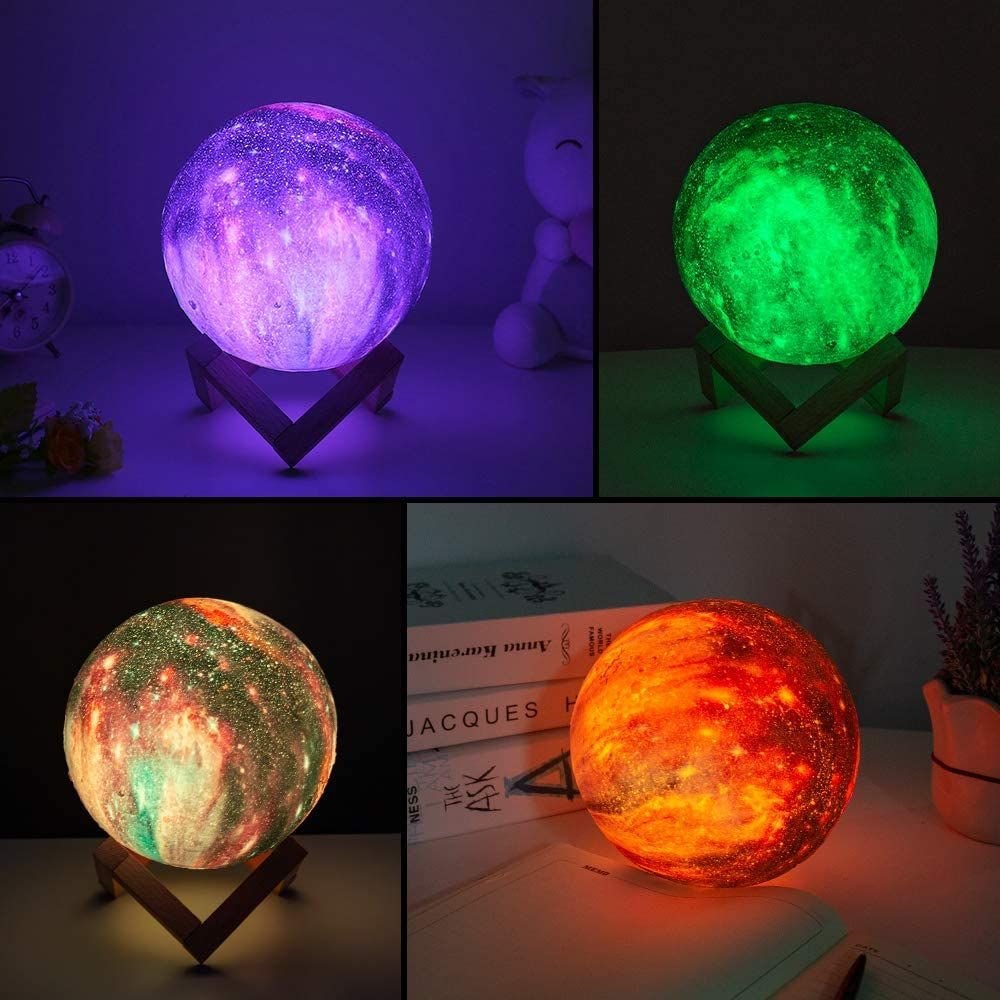 Moon Lamp Kids Night Light Galaxy Lamp 5 9 Inch 16 Colors Led 3d Star Moon Light With Wood Stand In 2020 Night Light Kids Kids Night Led Color