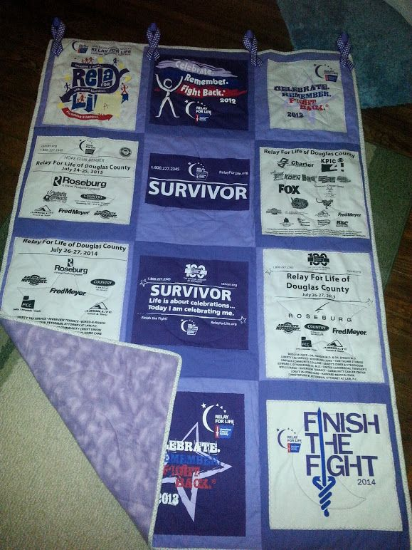 Relay For Life quilt I made using t shirts