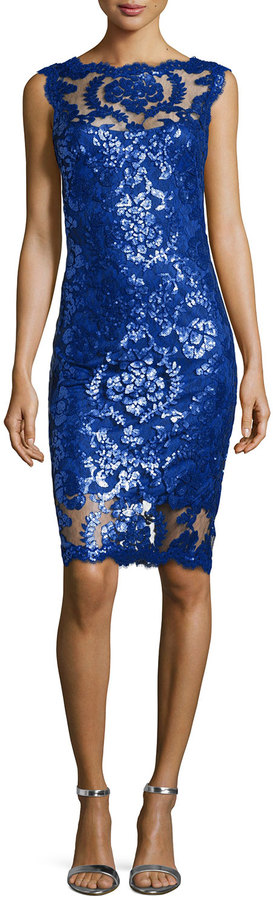 Tadashi Shoji Sequined Lace Overlay Tail Sheath Dress Mystic Blue On Style