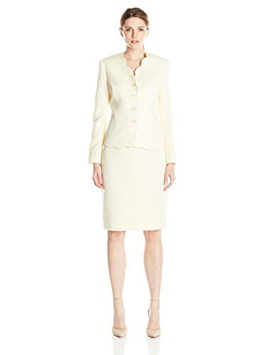 0e30fcb6637 Women s Suiting - Le Suit Womens FourButton Scalloped Coat and Dress Set   gt  gt