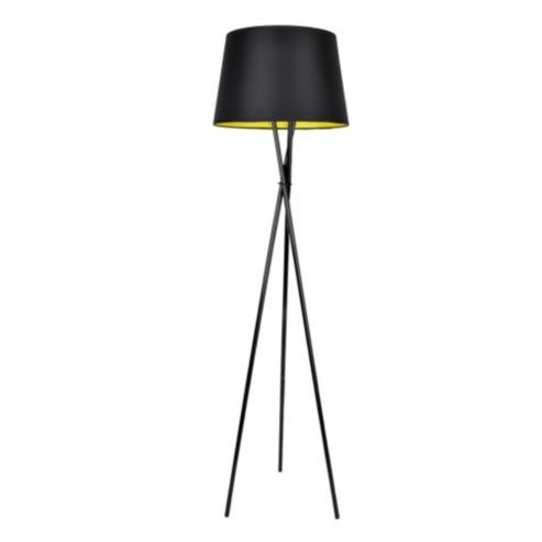 Modern Tripod Floor Lamp In Gloss Black With Tapered Shade In