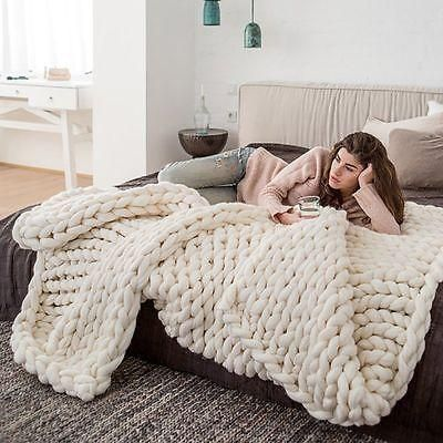 Find Yourself Snuggling Next To A Fireplace With This Unbelievably Cozy Hand Woven Throw Me Super Chunky Knit Blanket Chunky Knit Throw Blanket Merino Blanket
