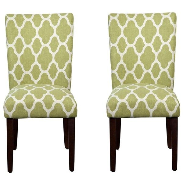 Green Quatrefoil Parsons Chairs, Set Of 2 ($195) ❤ Liked On Polyvore  Featuring