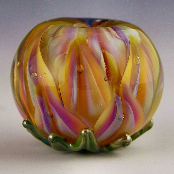 Polychrome Beads Lampwork - Flame Lotus - brightly colored lotus flower focal | eBay