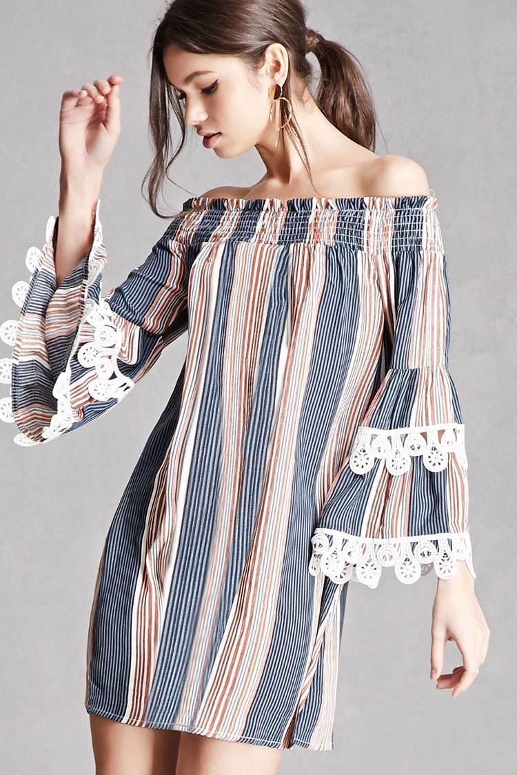 A woven mini shift dress featuring an allover stripe pattern, a smocked off-the-shoulder neckline, and long trumpet sleeves with layered crochet inserts. This is an independent brand and not a Forever 21 branded item.
