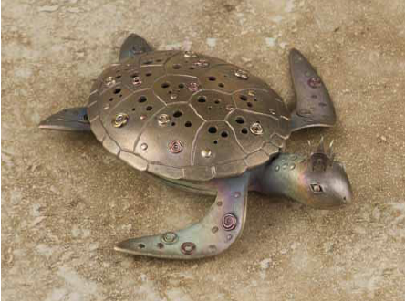 """turtle incense burner by Gordon Uyehara, from his book """"Metal Clay Fusion"""""""