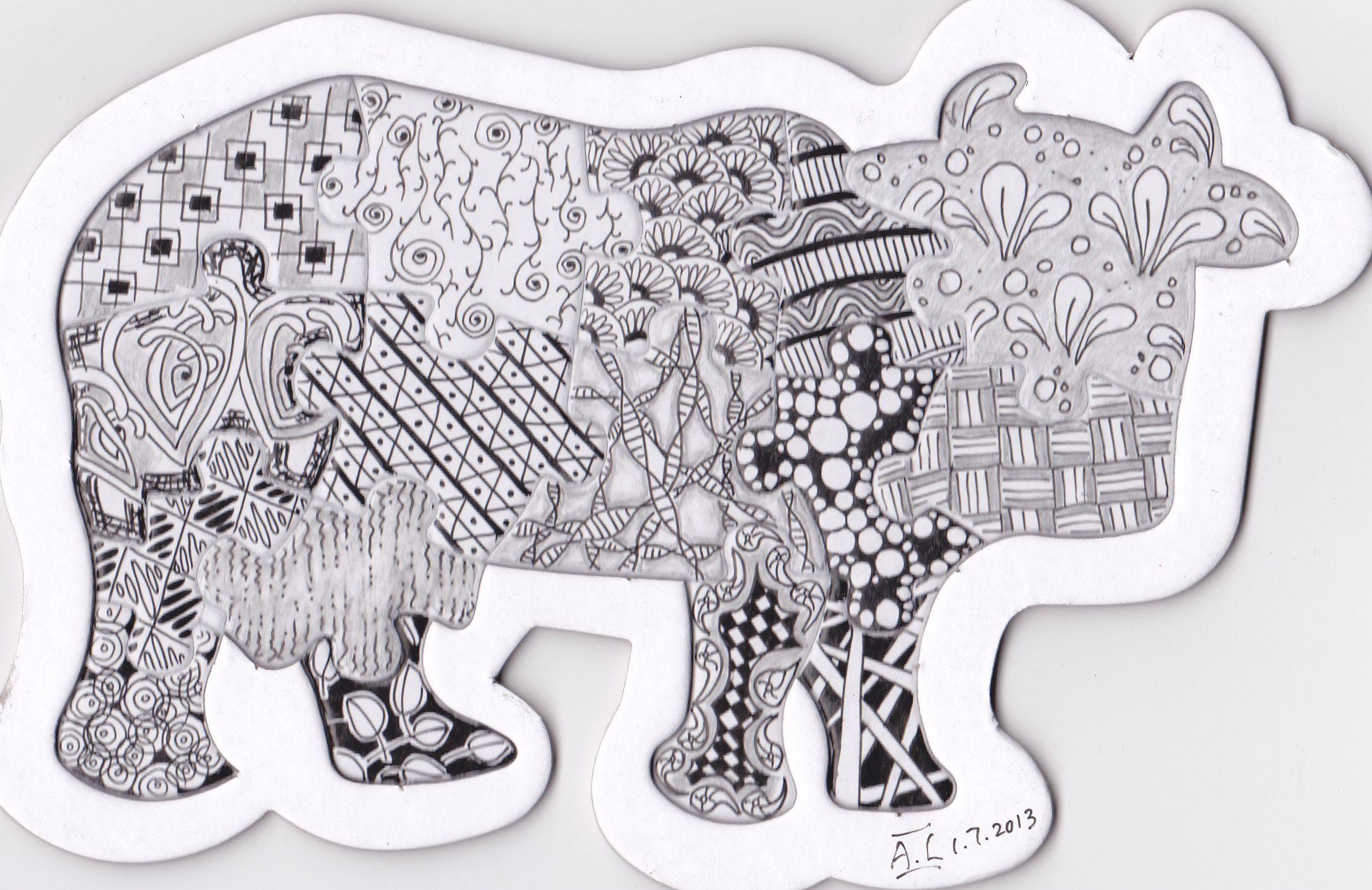 Cow Puzzle in Zentangle ! Zentangle art, Zentangle, Decor