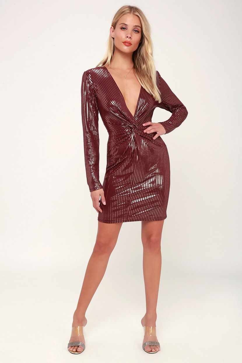 290c927fed49 Source of Joy Burgundy Striped Long Sleeve Bodycon Dress in 2019 ...