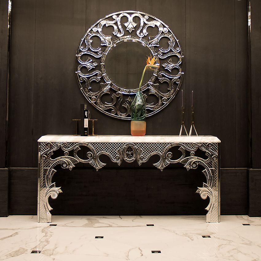 ENGRAVED FRETWORK CONSOLE TABLE   TAYLOR LLORENTE   Taylor Llorente  Furniture