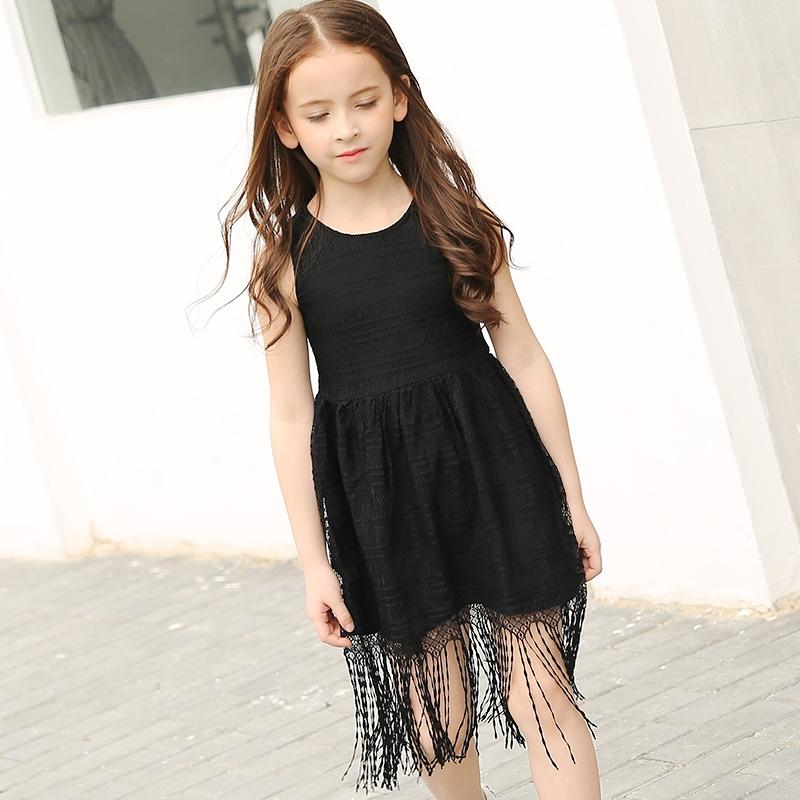 23.14$  Buy here - 2017 Teenage Girl Dress Big Girls Summer Black Tassel Vest Dresses Teenagers Lace Sleeveless Dress Teen Girl Children Clothing   #magazineonlinewebsite