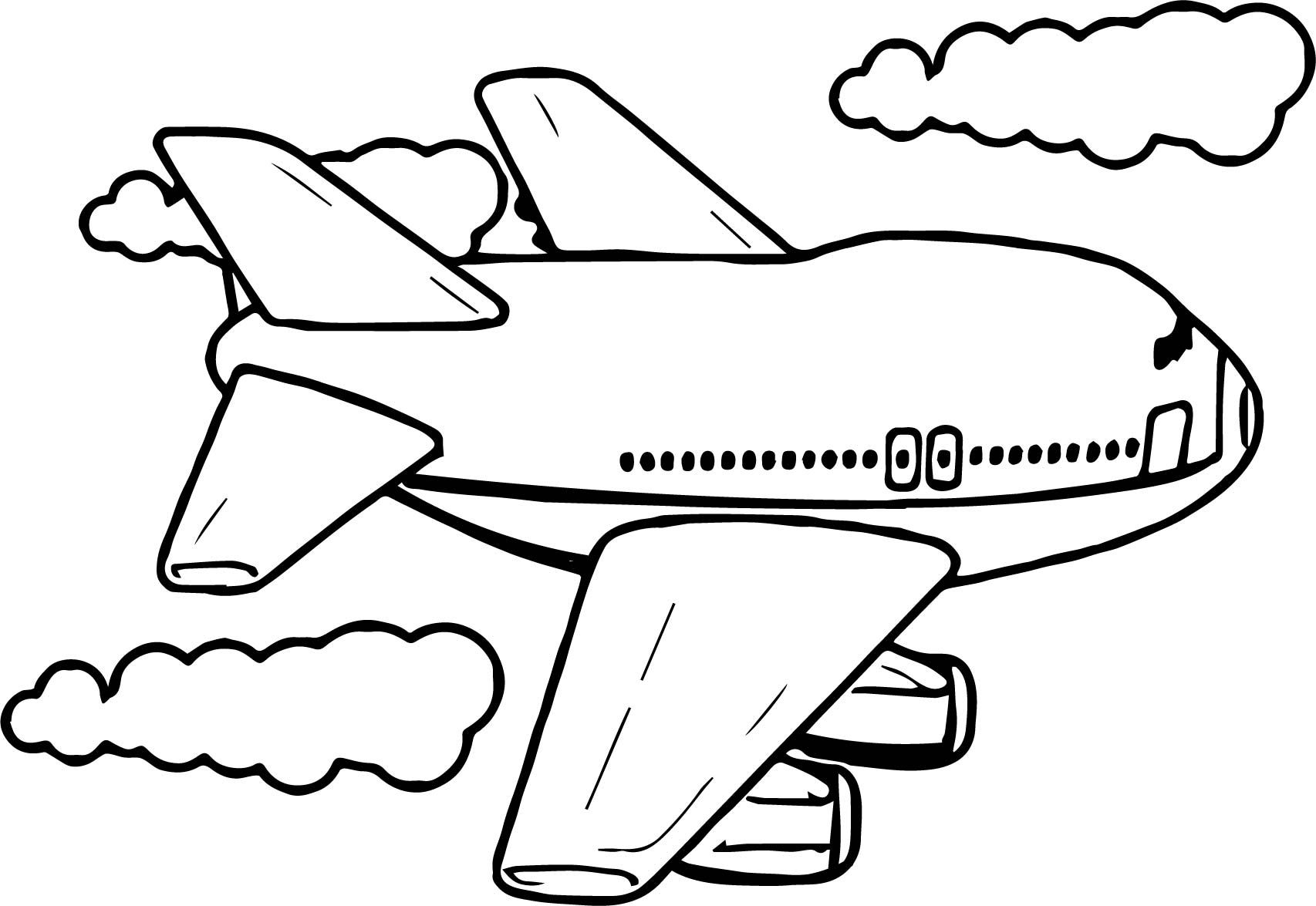 Awesome Cute Fly Airplane Coloring Page