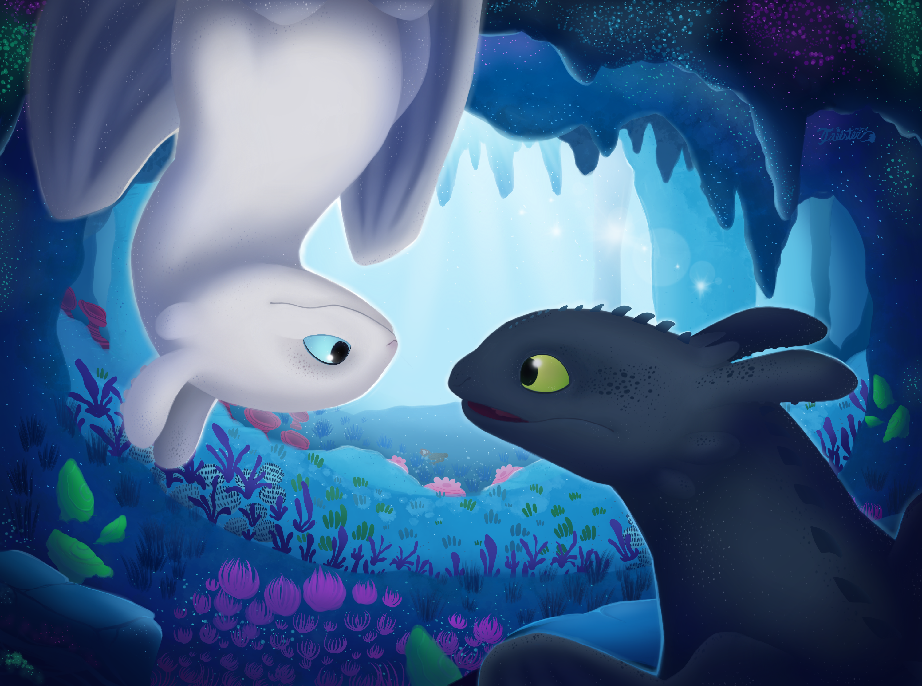 toothless and light fury the white night fury dragon in the cave