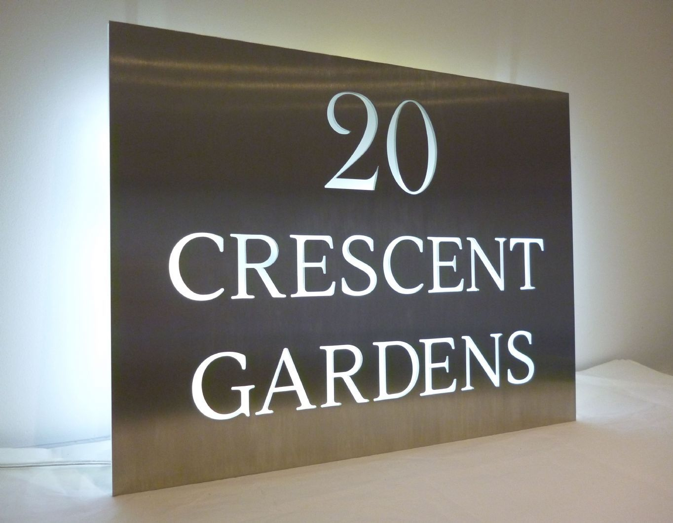 Our stainless steel house name plaques look stunning at night with back lit leds these are unique bespoke items laser cut from grade also giju joseph gijujoseph on pinterest rh