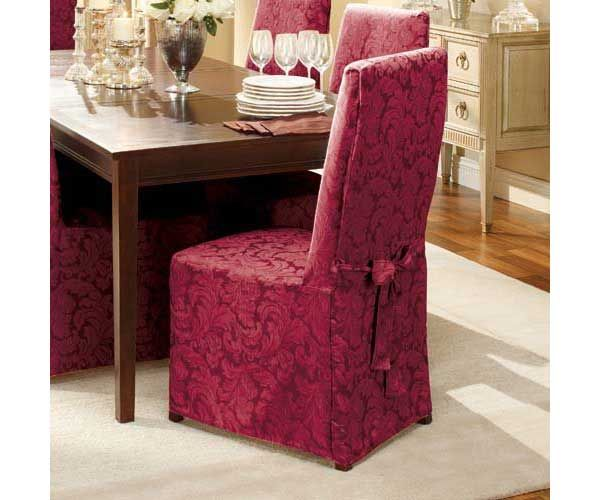 Sure Fit Scroll Full Burgundy Dining Room Chair Slipcover Custom Slipcovered Dining Room Chairs 2018