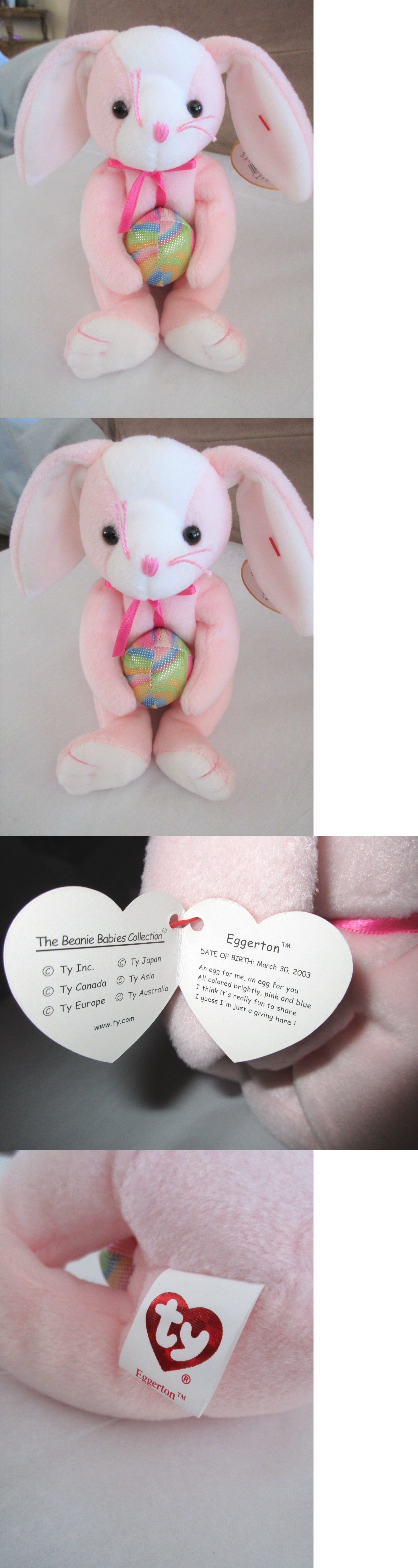 Ty Beanie Baby EGGERTON the Easter Bunny with Egg