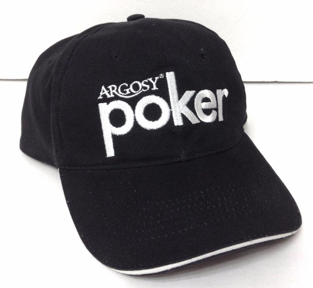 Vtg Argosy Casino Poker Hat Black White Texas Holdem Strap
