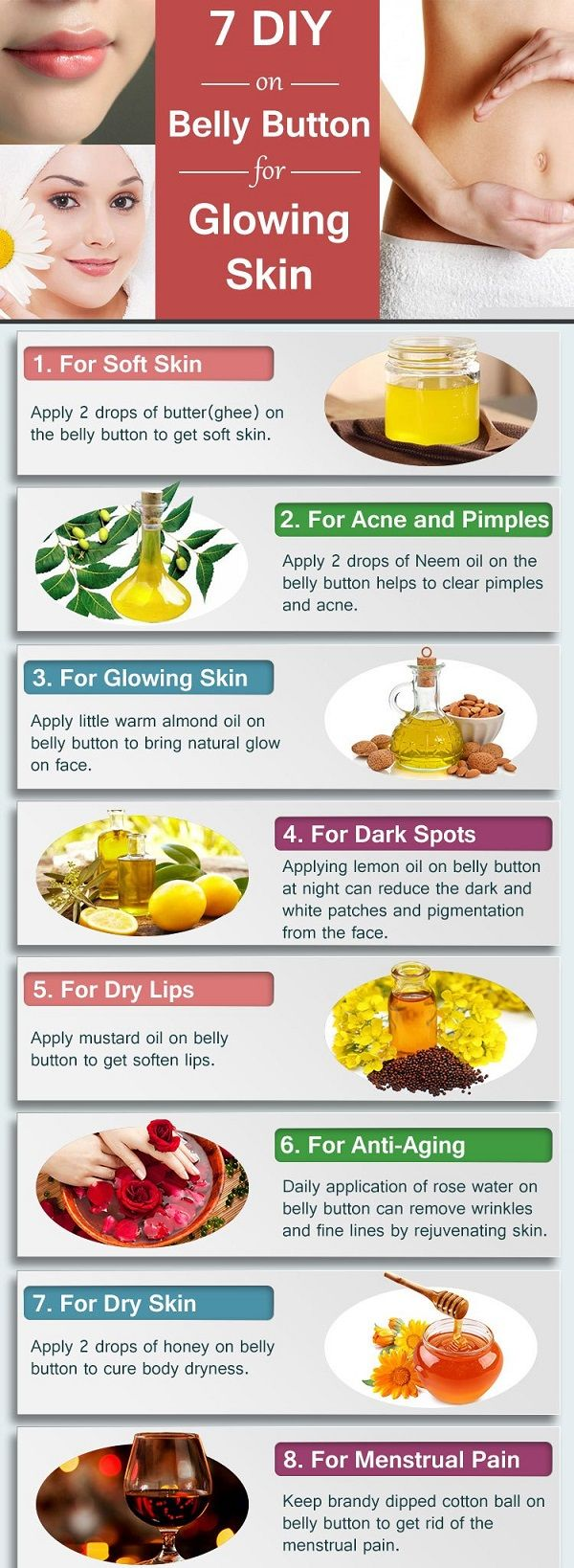 7 diy - benefits of putting oil on belly button for glowing