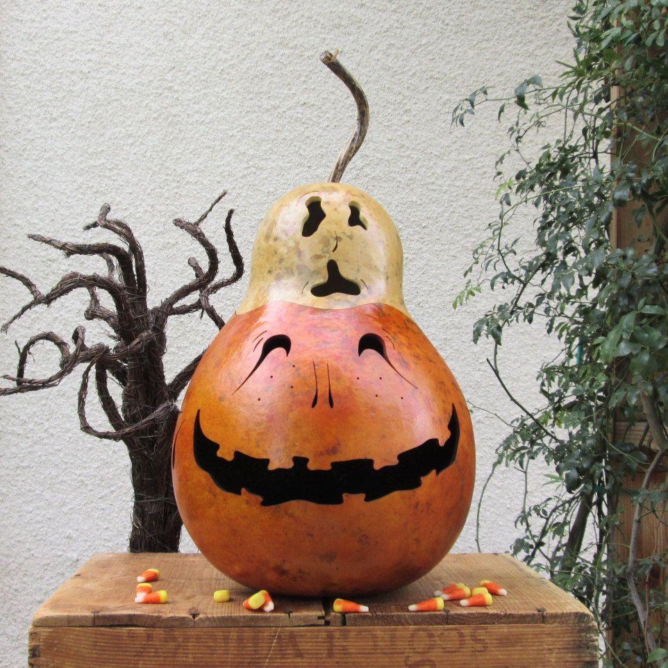Halloween Gourd Jack O Lantern XLarge Ghost Top Natural Fall ...