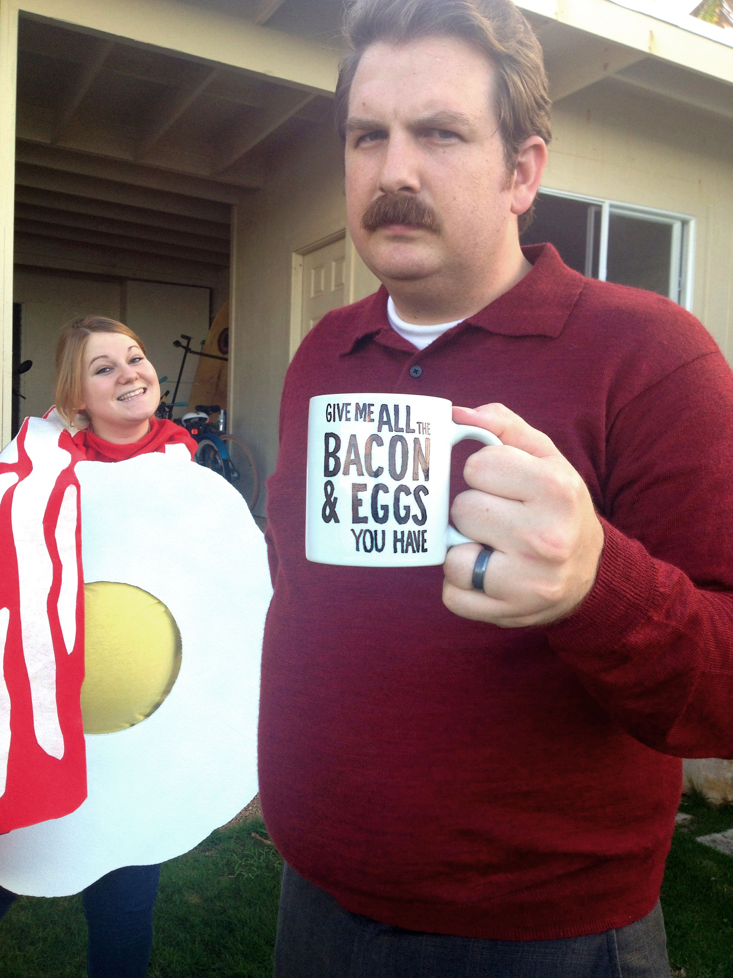 2013 ron swanson and all the bacon and eggs you have parks and rec pregnancy costume. Black Bedroom Furniture Sets. Home Design Ideas