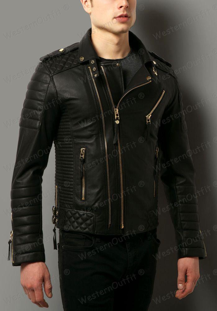 New Men/'s Genuine Lambskin Black Slim fit Leather Biker Motorcycle jacket