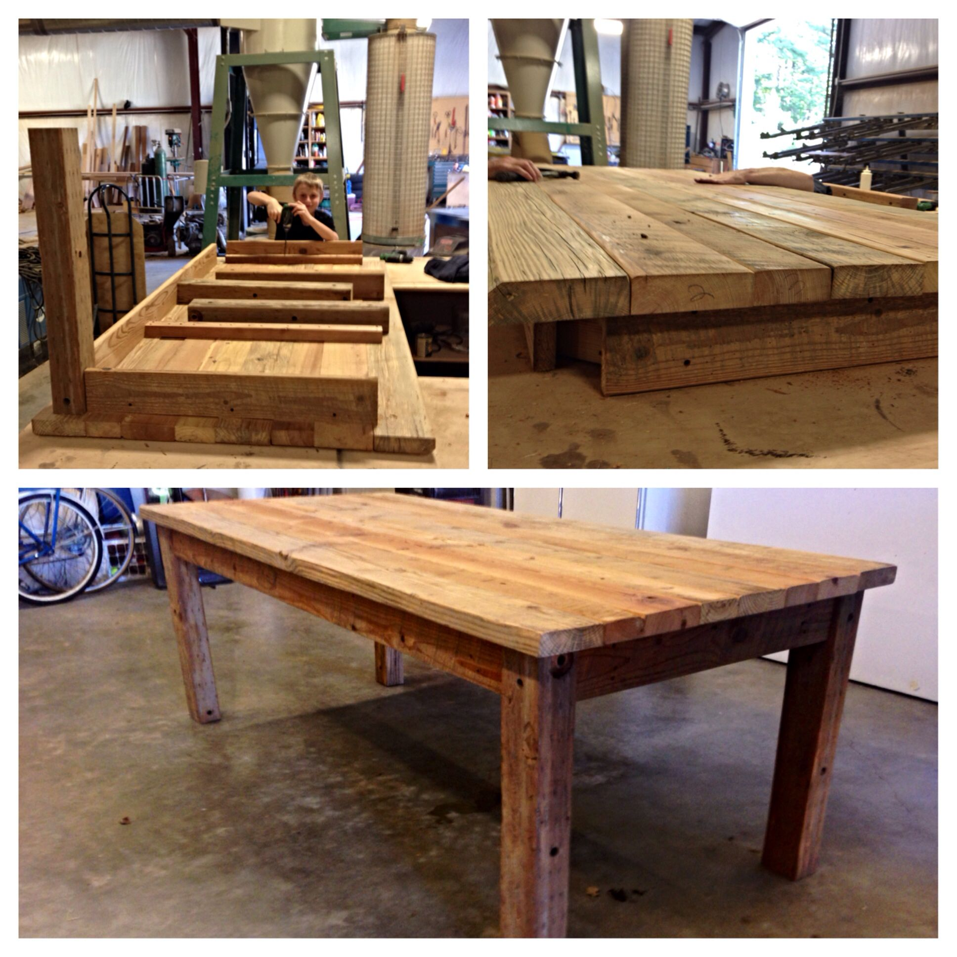 Built a reclaimed barn wood table. 7ft long x 3\u00274\
