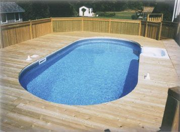 Semi Inground Pool With Deep End Google Search Pool Renovation Swimming Pools Pool Patio