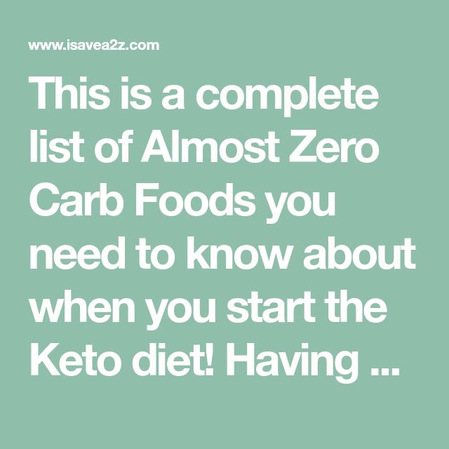 Almost Zero Carb Food List | Keto recipes | No carb food ...