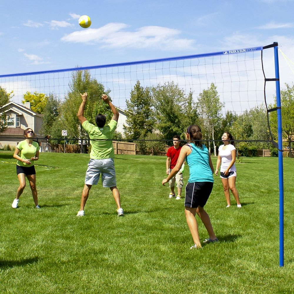 Park Sun Sports Portable Backyard Outdoor Set Court Volleyball Net System Blue In 2020 Volleyball Set Volleyball Volleyball Net
