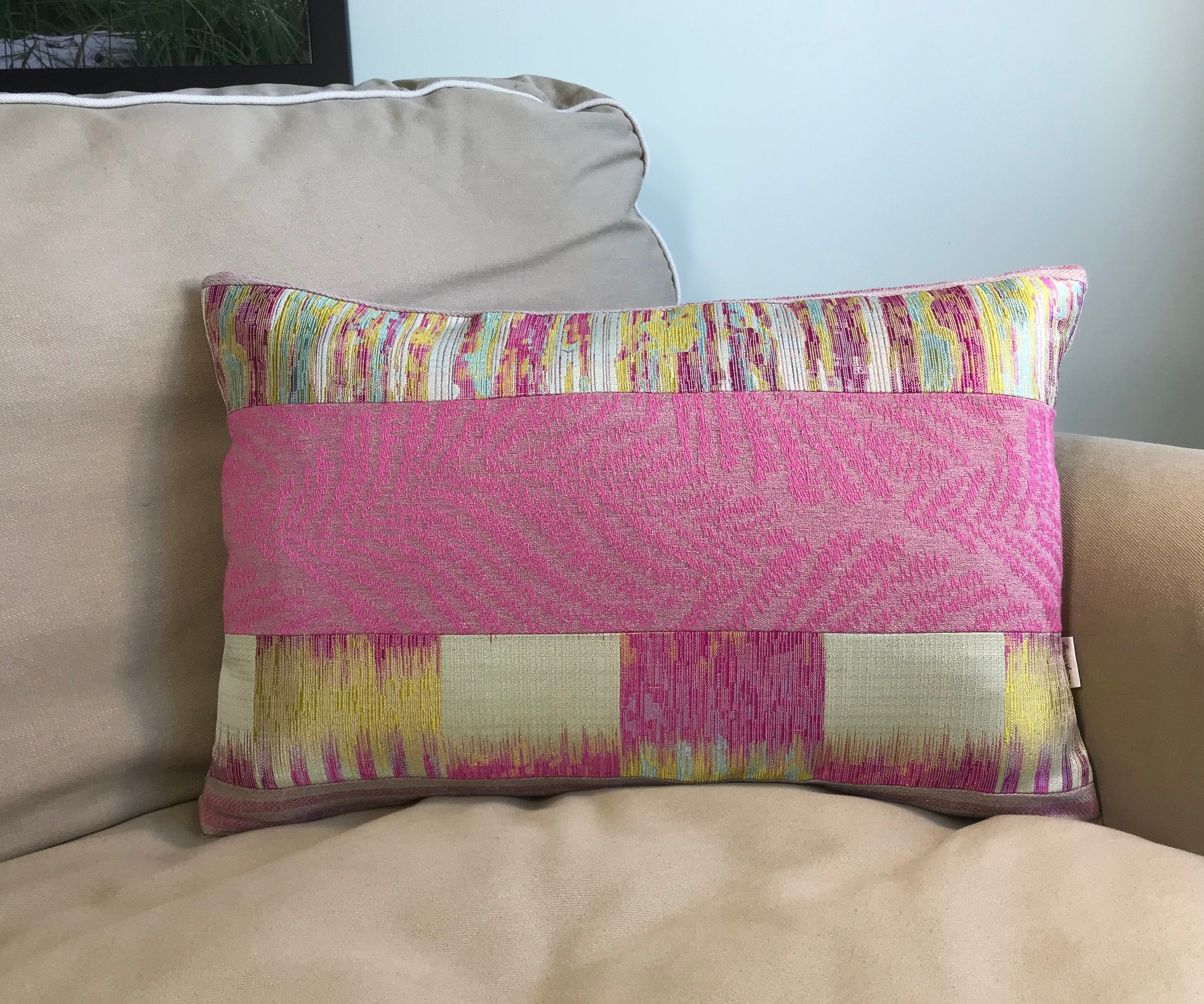 Pink And Golden Yellow Patchwork Decorative Pillow Handmade Pillow Case Rectangle Pillow Cover Colourful Cushion Colourful Cushions White Pillow Cases Handmade Pillows