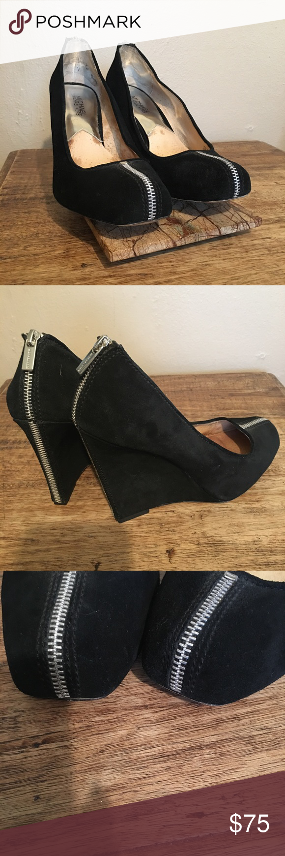 Preowned Michael Kors Shoe 9 1/2 This is a pair of Preowned Michael Kors shoes black Suede in color with silver zipper decor up the back of the heel and front of the toe, gently worn, in great condition absolute gorgeous shoe. Michael Kors Shoes Heels