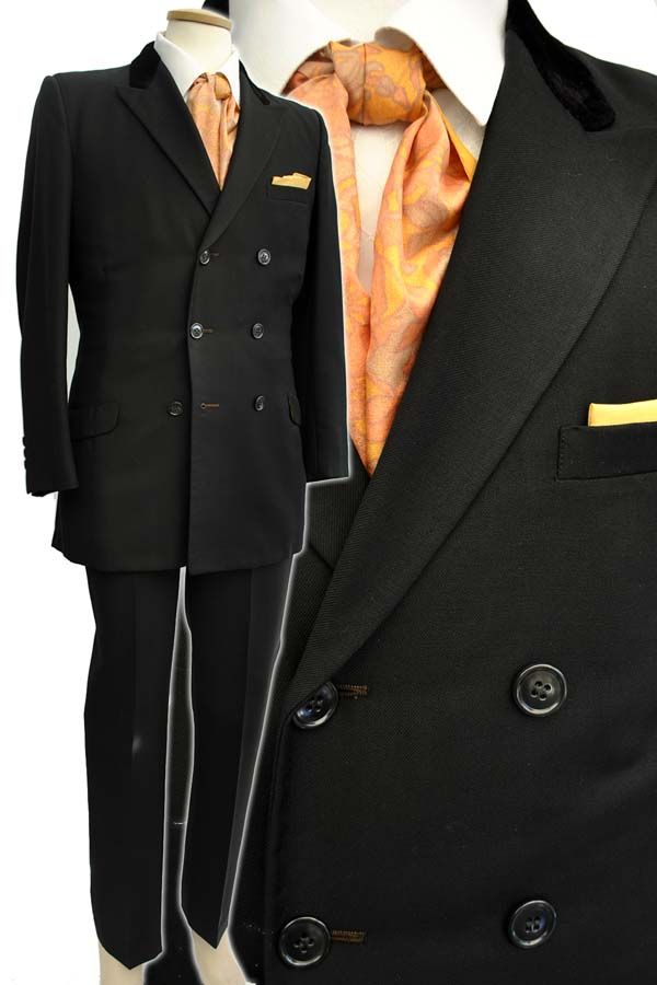 Men's Vintage 1960's Tailored Black Double Breasted Mod Suit ...