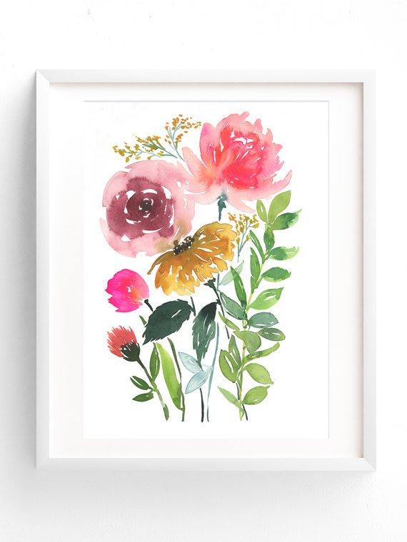 Floral Bunch Watercolor Flowers Print Watercolor Art Print