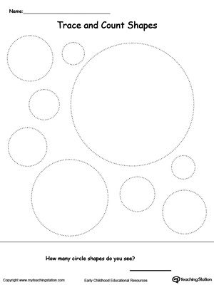 Trace And Count Circle Shapes Shapes Worksheets Shapes