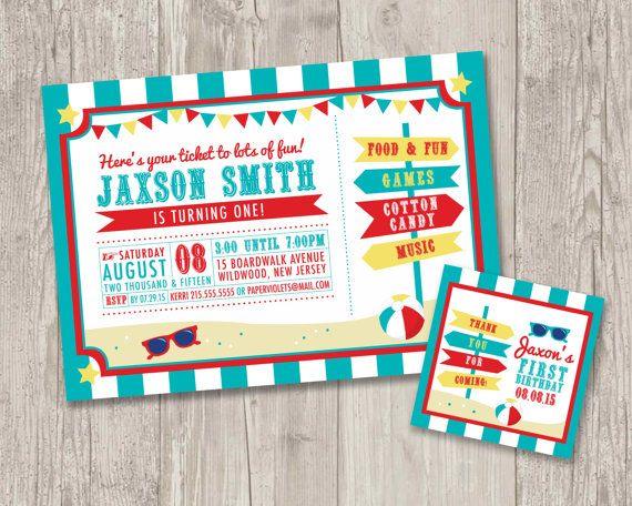 beach boardwalk birthday party invitations by thepapervioletshoppe - Carnival Birthday Party Invitations