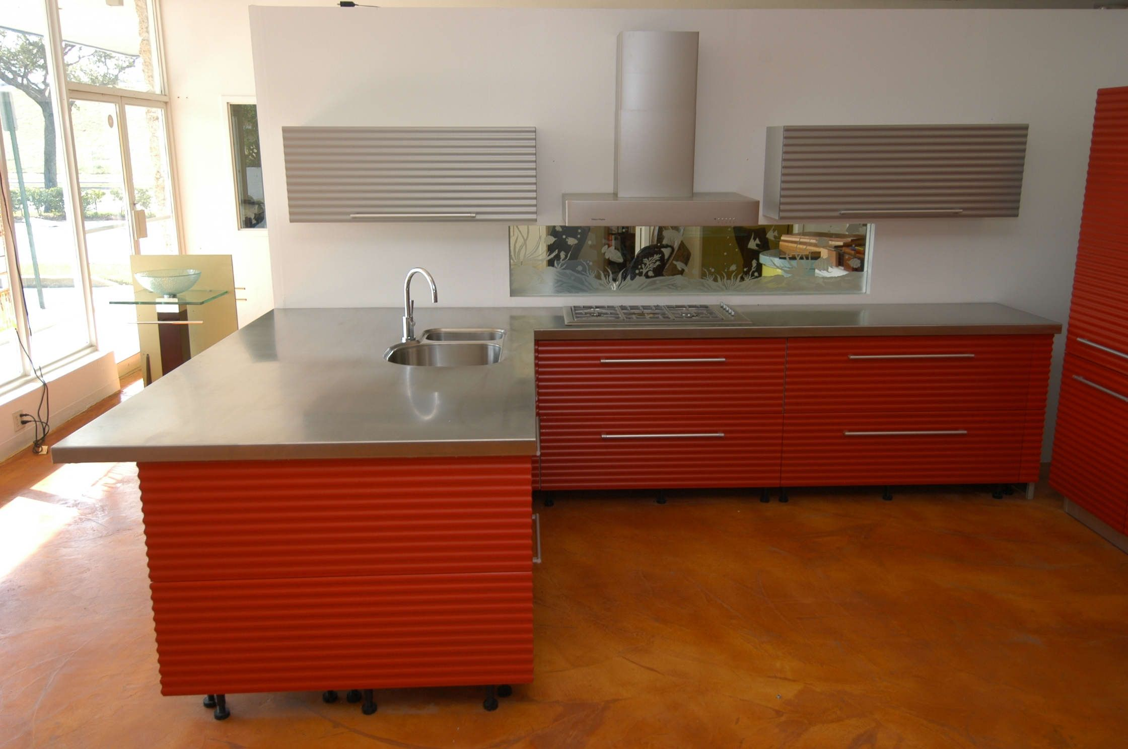 Image result for red brick countertops stainless steel