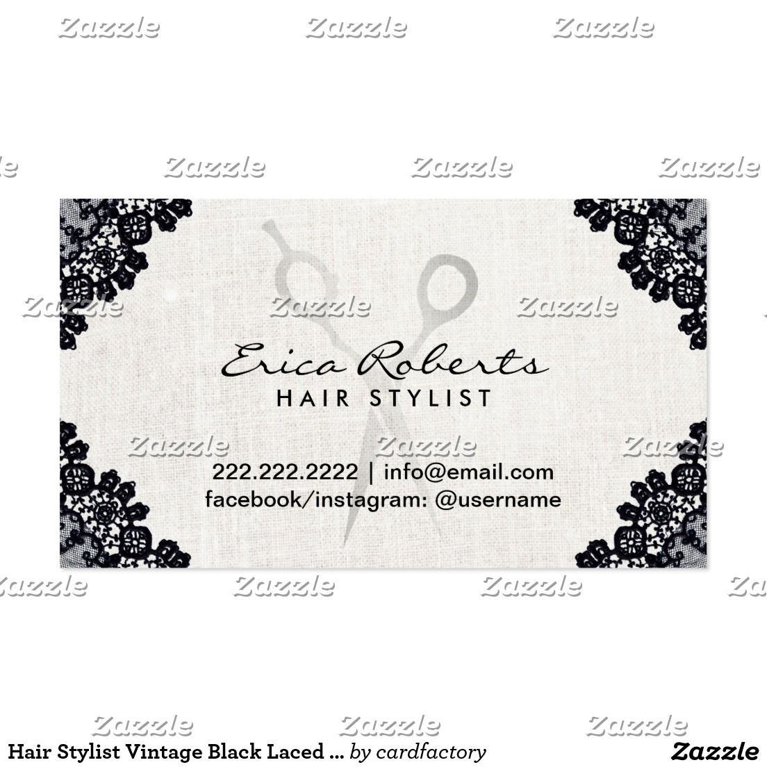 Hair Stylist Vintage Black Laced Salon Appointment Business Card ...