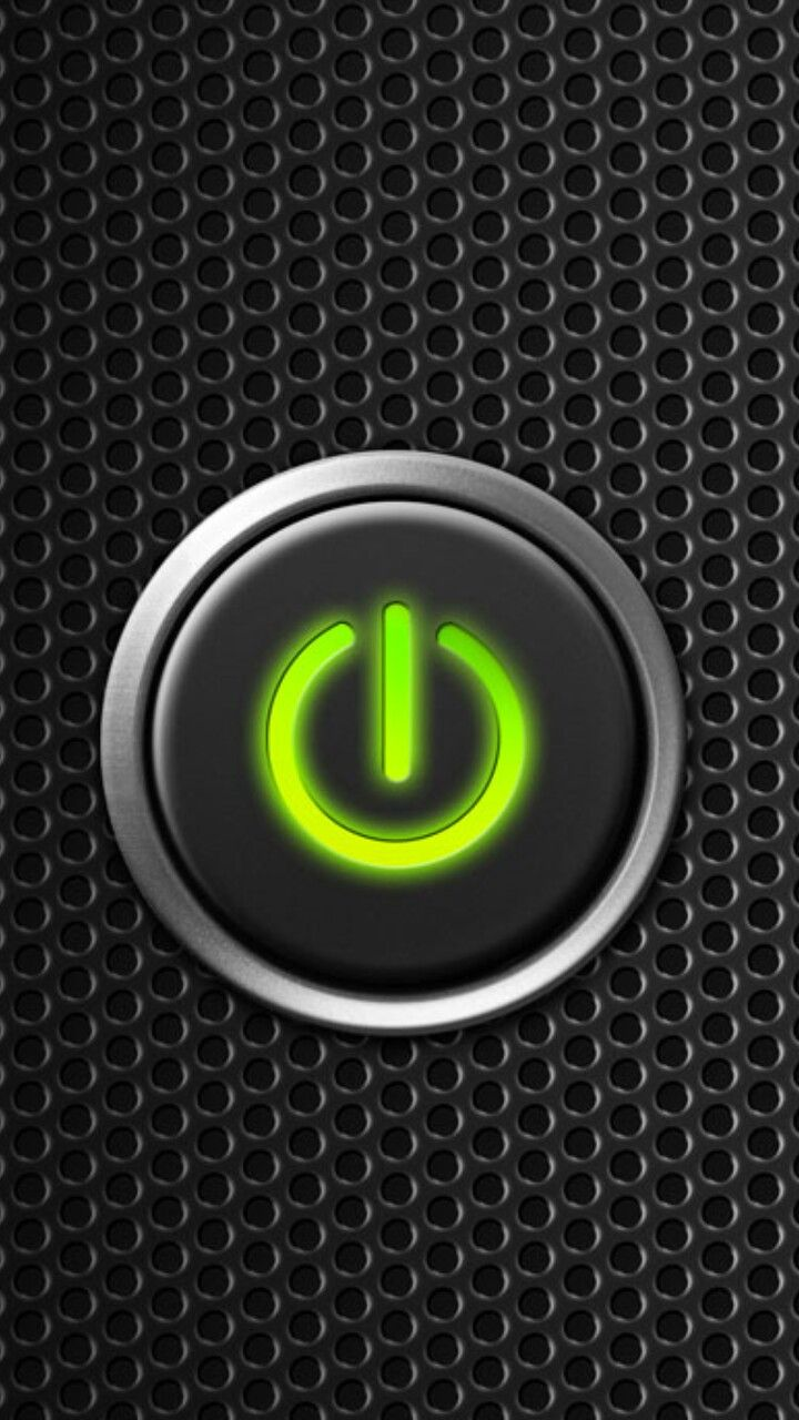 Green power button start on wire mesh for iPhone unlock screen wallpaper black | iPhone Black ...