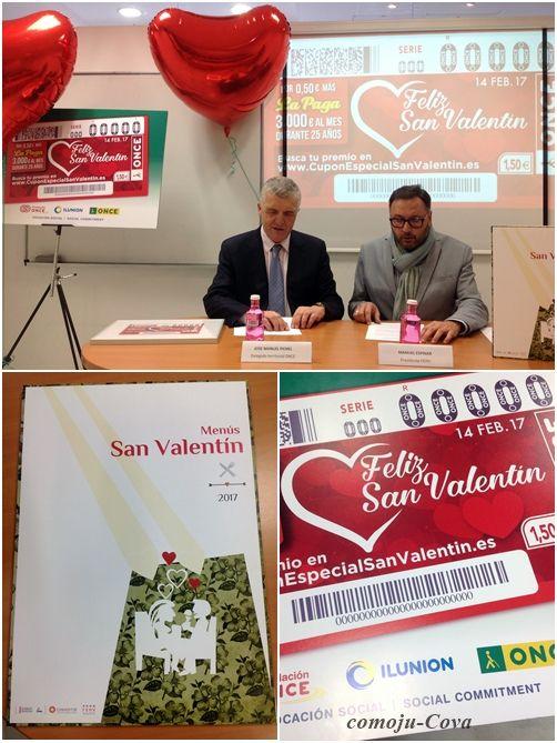 La Federación de Hostelería de Valencia y la ONCE se unen para celebrar el Día de los Enamorados con un sorteo de cenas románticas